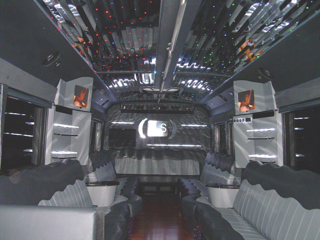 32-36 passenger limo bus interior